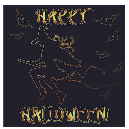 Happy Halloween invitation card with young witch, vector illustration