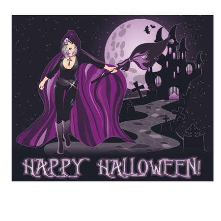 Happy Halloween background with young witch, vector Vektorgrafik