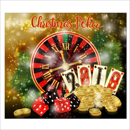 Christmas poker card. New 2019 year. vector illustration