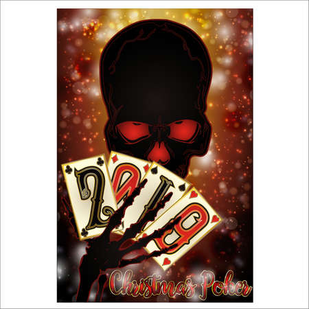Skeleton playing poker. New 2019 Year background, vector illustration
