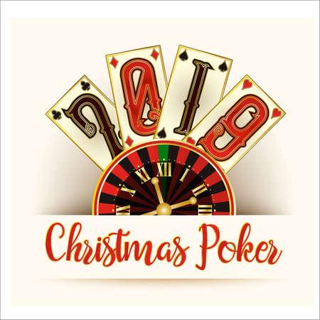 New Year's card, Christmas Poker, vector illustration