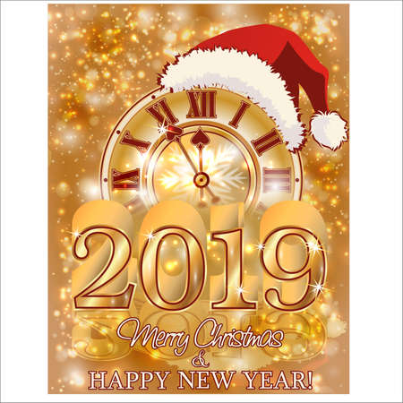 Happy New Year 2019 golden banner, vector illustration
