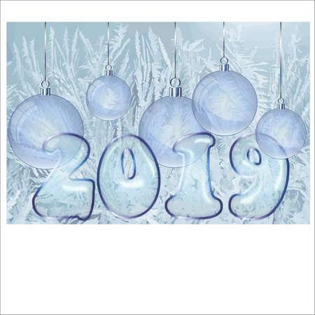 Happy New Year 2019 banner, vector illustration