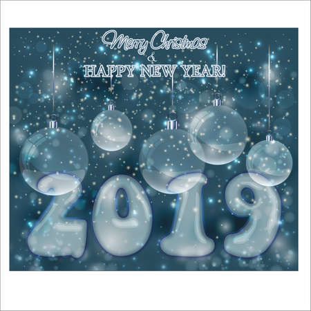 Happy New Year 2019 invitation card, vector illustration