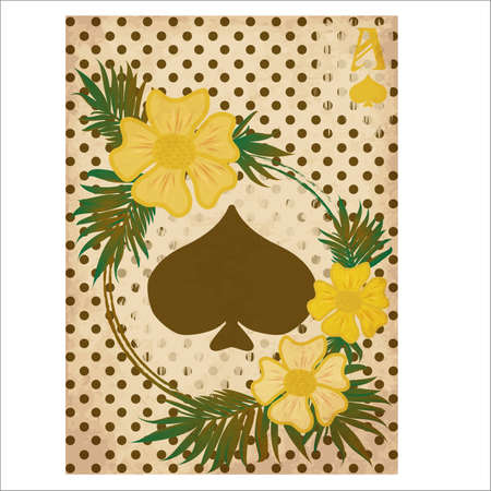 Casino Poker spade card vintage, vector illustration