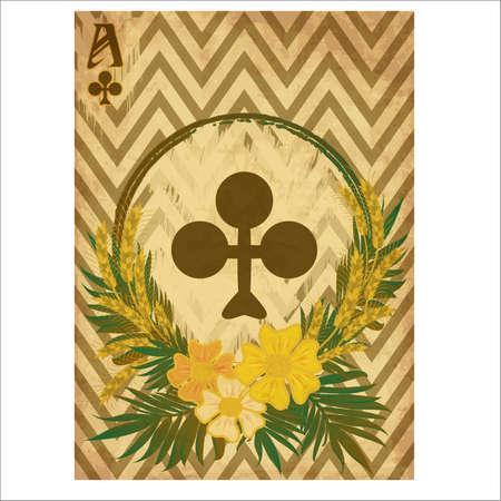 Poker vintage clubs card, casino banner, vector illustration Stock Illustratie
