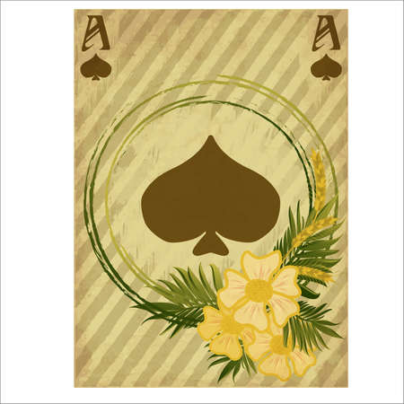 Vintage poker spades card, vector illustration