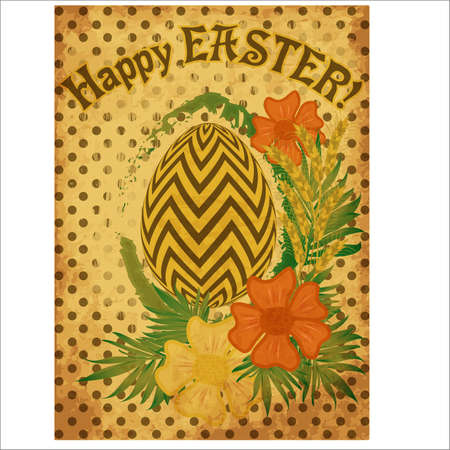 Vintage Happy Easter card with flowers and wheat ears, vector illustration Illustration
