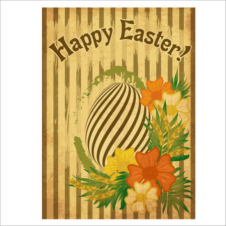 Vintage Happy Easter greeting card with egg and wheat ears, vector illustration