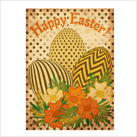 Happy Easter vintage greeting card, vector illustration