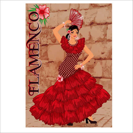 Beautiful spanish flamenco girl with a fan, vector illustration background