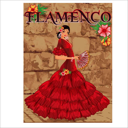 Elegant spanish flamenco girl, invitation card, vector illustration 向量圖像