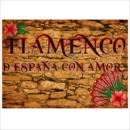Flamenco party greeting card with spanish fan, vector illustration