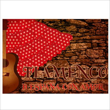 Flamenco party spain love invitation card, vector illustration Illustration