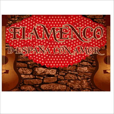 Flamenco party invitation banner. vector illustration
