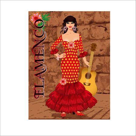 Spanish flamenco dancer girl with guitar, invitation card, vector illustration