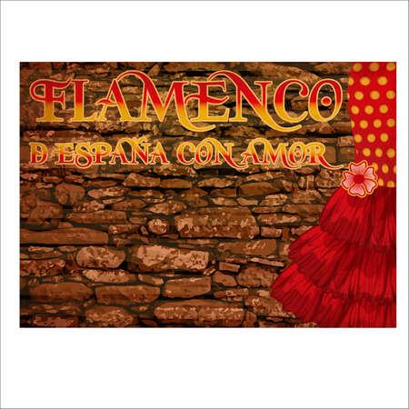 Flamenco spain love greeting card, vector illustration