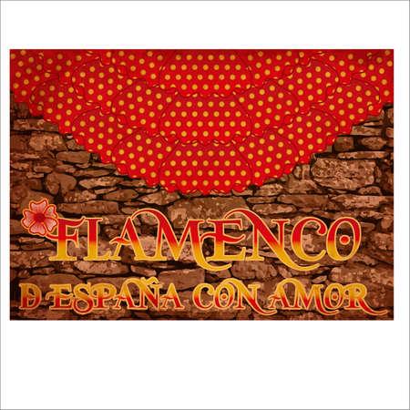 Flamenco Spain love invitation card, vector illustration