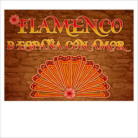 Flamenco party Spain love greeting banner. vector illustration