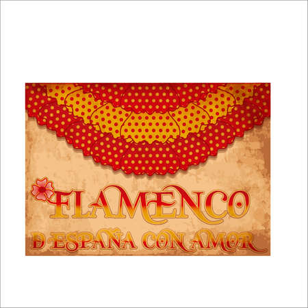 Flamenco Spain love card with spanish flag, vector illustration Illustration