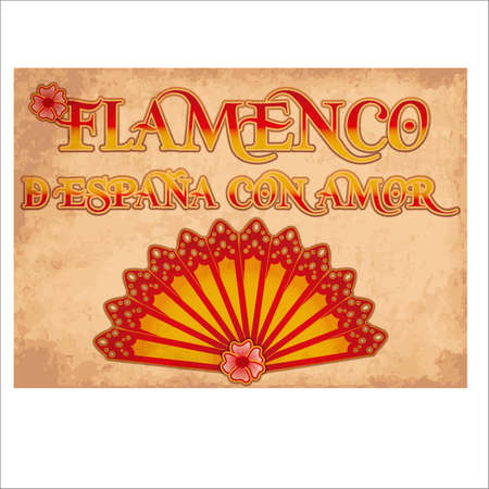 Flamenco Spain love card colors of Spanish flag, vector illustration