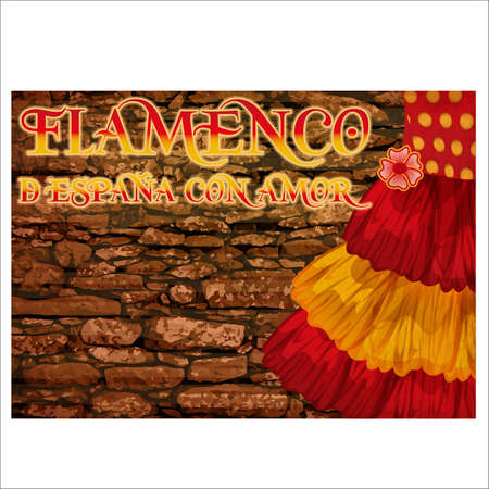 Flamenco party card with colors of Spanish flag, vector illustration