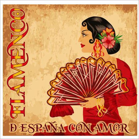 Flamenco Spain love girl, vintage card, vector illustration