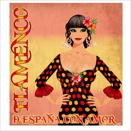 Flamenco Spain love girl, vintage card with spanish flag colors, vector