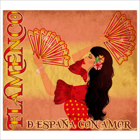Flamenco Spain love card with beauty girl and fans, vector illustration