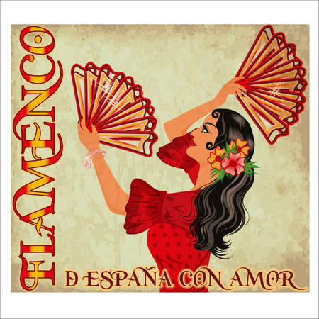 Flamenco Spain love wallpaper with spanish girl and fans, vector illustration