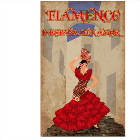 Flamenco. From Spain with love. Young spanish girl dancing on the street, vector illustration Ilustração