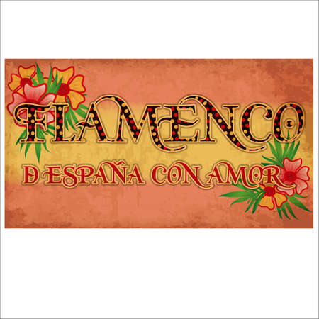 Flamenco. From Spain with love. Greeting banner with colors of Spanish flag, vector illustration