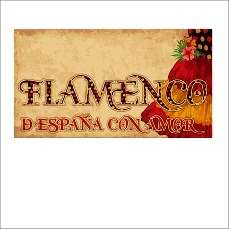 Flamenco. From Spain with love. Invitation background with flamenco clothes, vector illustration