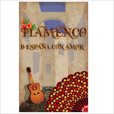Flamenco. From Spain with love. Greeting postcard with spanish guitar and flamenco fan, vector illustration