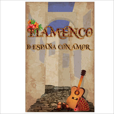 Flamenco. From Spain with love. Festival invitation card with spanish guitar and flamenco fan and female shoes, vector illustration Vetores