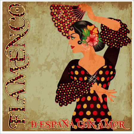 Flamenco. from Spain with Love. Invitation card with dancing spanish girl and fan, vector illustration