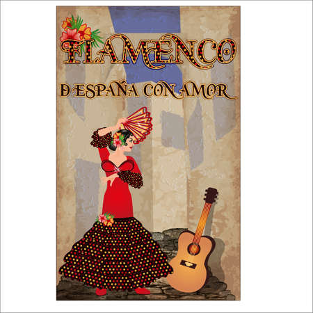 Flamenco. From Spain with Love. Invitation card with dancing spanish girl and guitar, vector illustration
