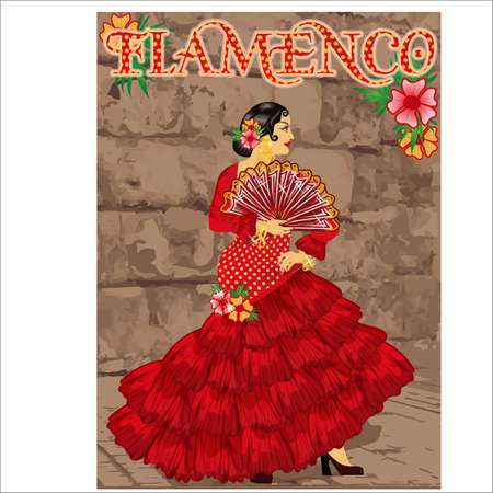 Flamenco. Dancing spanish girl with fan, vector illustration Illustration