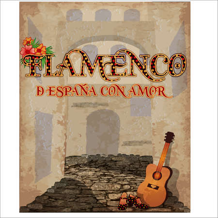 Flamenco. From Spain with love. Festival invitation card with spanish guitar and flamenco female shoes, vector illustration