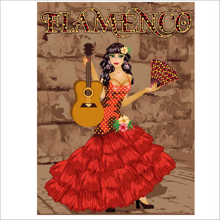 Flamenco. Spanish dancing girl with fan and guitar. Holiday background. vector illustration 矢量图像