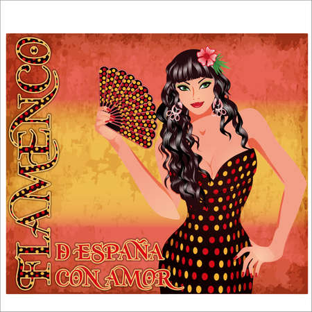 Flamenco. Translation from From Spain with Love. Festival card with elegant spanish girl and fan, vector illustration