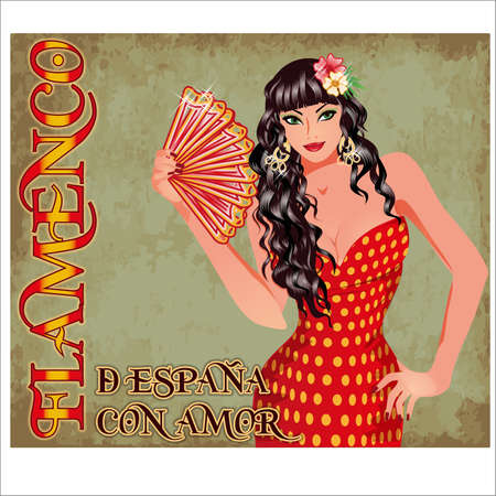 Flamenco.Translation is From Spain with Love. Elegant Spanish girl with fan. Invitation card. vector illustration
