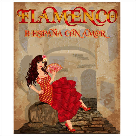 Flamenco.Translation is From Spain with Love. Spanish girl with fan. Holiday wallpaper. vector illustration