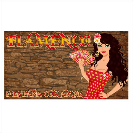 Flamenco.Translation is From Spain with Love. Elegant spanish girl with fan. Festival card. vector illustration