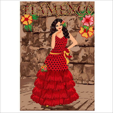 Flamenco.Translation is From Spain with Love. Elegant spanish girl and flamenco guitar. Festival invitation card. vector illustration Ilustração