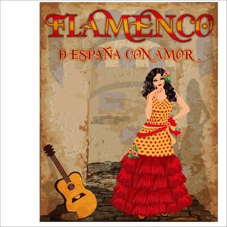 Flamenco.Translation is From Spain with Love. Dancing spanish girl and flamenco guitar. Greeting card. vector illustration