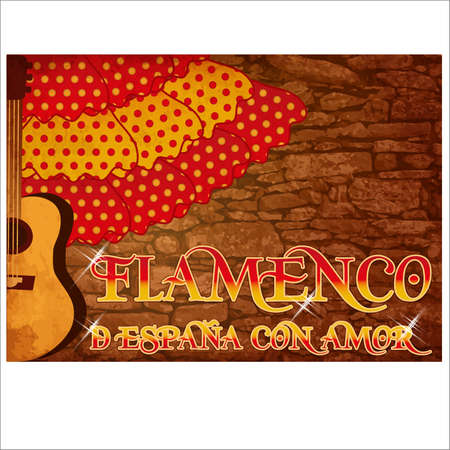 Flamenco. Translation from From Spain with Love. Invitation card, vector illustration
