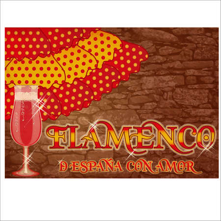 Flamenco. Translation from From Spain with Love. Festival party card with spanish wine, vector illustration