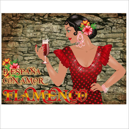 Flamenco.Translation is From Spain with Love. Elegant girl with spanish wine. Festival card. vector illustration