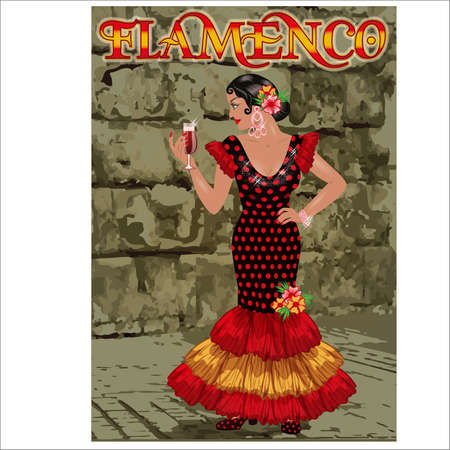 Flamenco.Translation is From Spain with Love. Elegant spanish girl with wineglass in flamenco dress, vector illustration Illustration